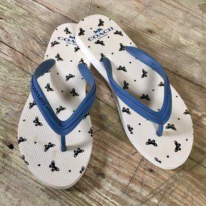 Coach Cleo Classic Flip Flop Sandals white navy 6